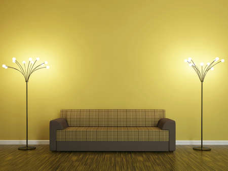 Sofa and a lamp near the wall
