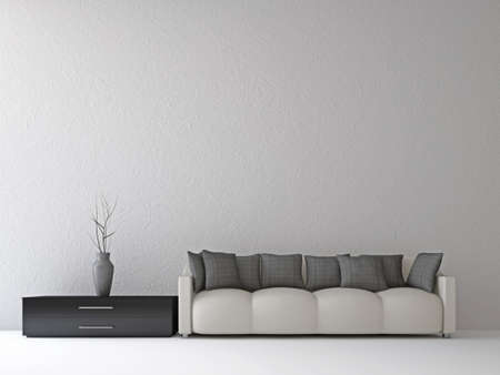 Sofa and a vase near the wall