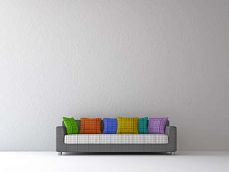 Sofa with color pillows near the wall