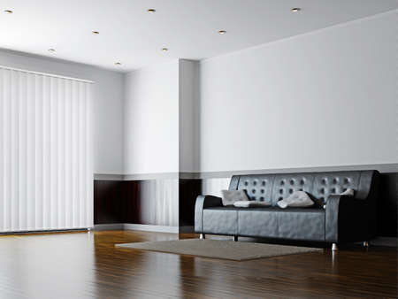 Photo pour Black sofa with a white pillows near the wall - image libre de droit