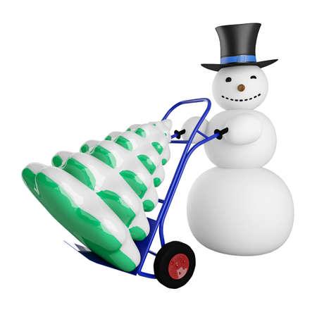 Big snowman with Christmas tree on a pushcart