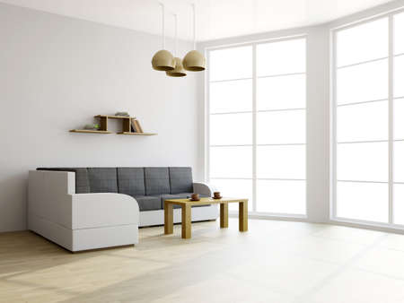 Photo pour Sofa and a table in the livingroom near the window - image libre de droit