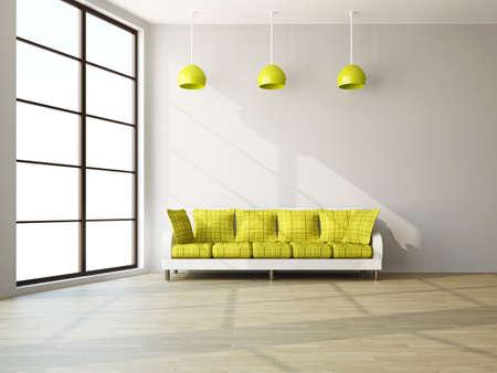 A room interior with a sofa near the wall