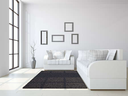 Photo pour Livingroom with sofas and a vase near the windows - image libre de droit