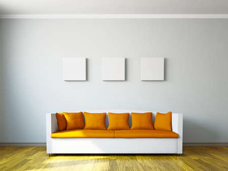 Photo pour Livingroom with orange sofa  near the wall - image libre de droit