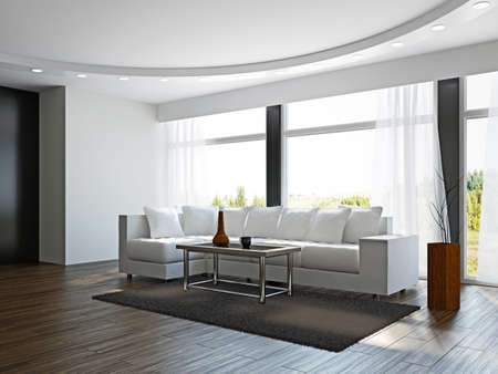 Photo pour Livingroom with white sofa  near the windows - image libre de droit