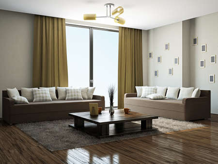 Photo pour Livingroom with furniture near the panoramic windows - image libre de droit