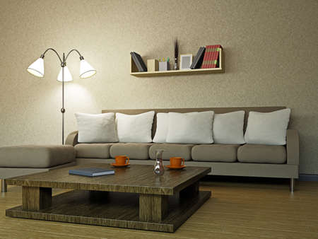 Photo pour Sofa in the livingroom near the wall - image libre de droit