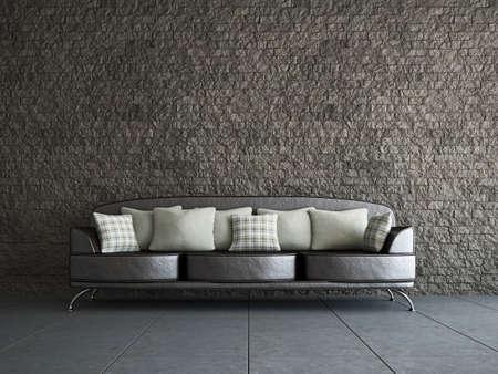 Livingroom with sofa  near the old wall