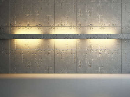 The old concrete wall with bright lighting