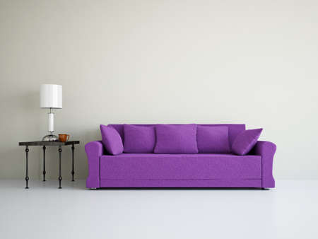 Photo pour Livingroom with sofa near the wall - image libre de droit