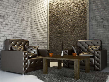Photo pour Livingroom with armchairs near the wall - image libre de droit