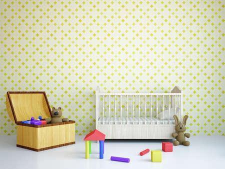 Foto de Nursery with toys and the bed near a wall - Imagen libre de derechos