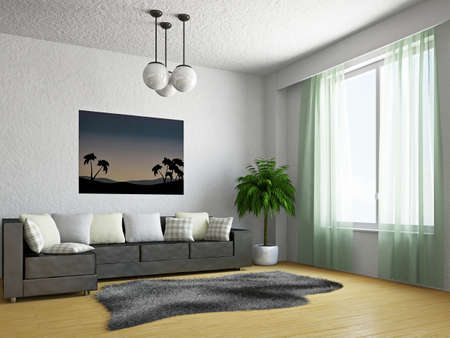 Photo pour Livingroom with sofa near the window - image libre de droit