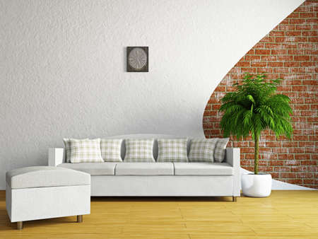 Livingroom with sofa near the wall