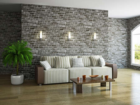 Photo pour Livingroom with sofa near the brick wall - image libre de droit
