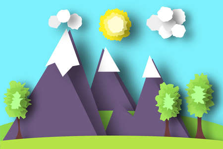 Mountain scene paper world. rural life with cut meadow trees