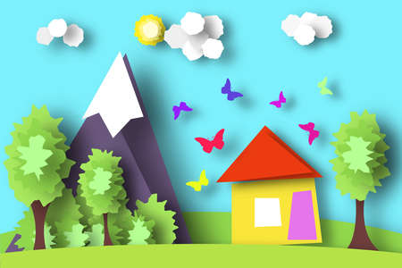 Paper crafted cutout world. concept of summer time surf board and