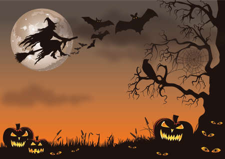 Illustration pour Halloween scene with a witch, bats, pumpkins and a creepy tree. - image libre de droit