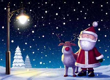 Santa & Rudolf Christmas Illustration