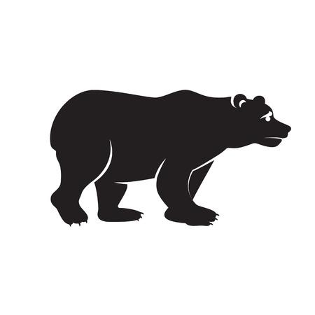 Vector illustration of big walking black bear. Monochrome art isolated on white background.