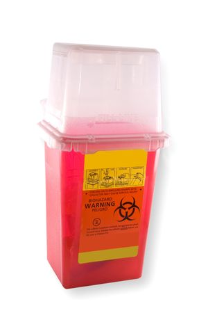 Disposal container for medial syringes and needles, isolated on white background