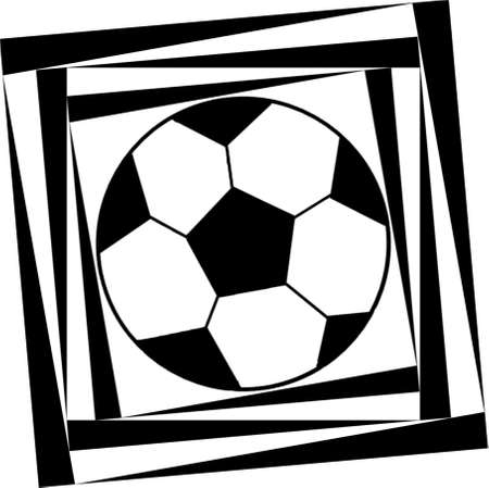 Decorative pattern with a soccer ball in a black - white colors.