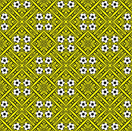 Seamless pattern with a soccer ball in a bright colors.