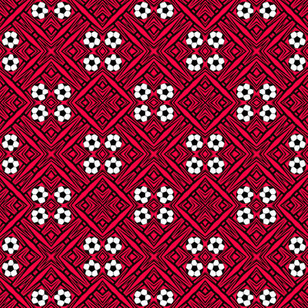 Seamless pattern with a soccer ball in a red colors.