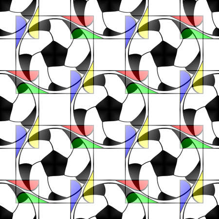 Seamless pattern with a soccer ball in a bright translucent colors.