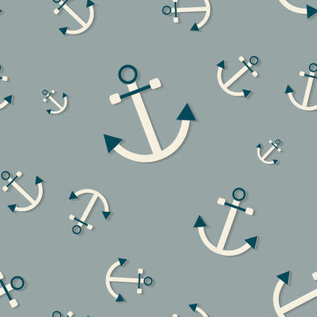 Seamless vector pattern with anchors (nautical theme)