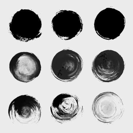 Grunge paint circle element set. Brush smear stain texture
