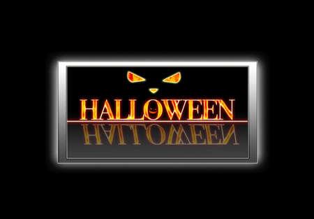 Illuminated sign with Halloween.