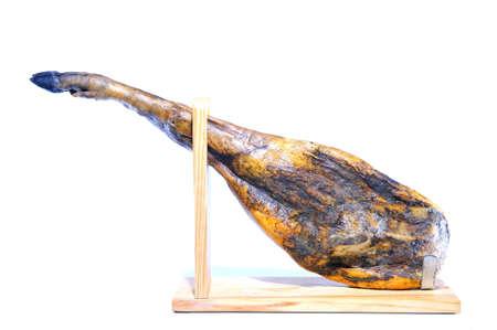Spanish iberian ham from acorn fed pigs isolated