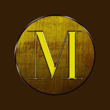 Letter M in gold and wood on brown background