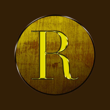 Letter R in gold and wood on brown background