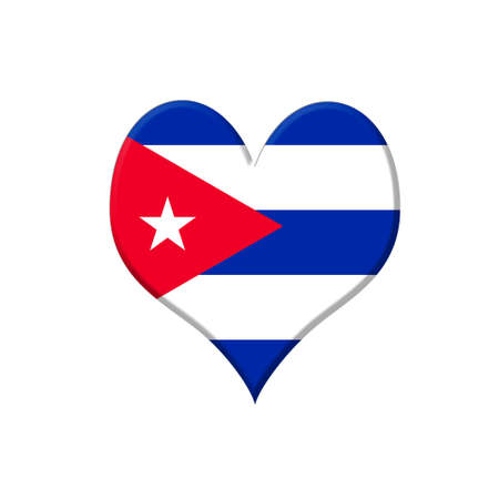 Illustration with a Cuba heart on white background