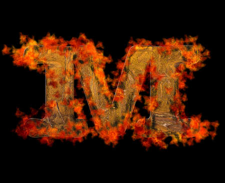 Illustration with a letter M wooden burning