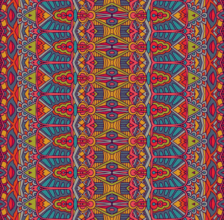 Illustration for ethnic tribal festive pattern for fabric. Abstract geometric colorful seamless pattern ornamental. Mexican design - Royalty Free Image