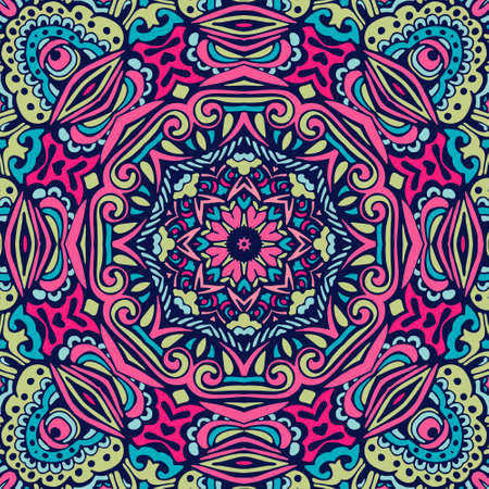 Illustration pour Seamless pattern tile with mandala. Vintage decorative elements. Hand drawn background. Oriental, Arabic, Indian, ottoman motifs. Perfect for printing on fabric wrap paper, cloth. - image libre de droit