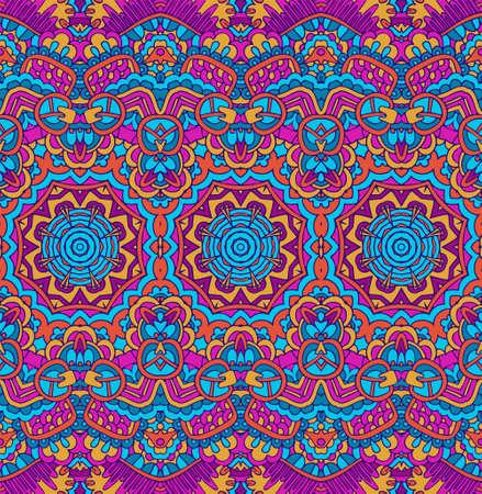 Illustration pour Vector seamless pattern ethnic tribal geometric psychedelic colorful print - image libre de droit
