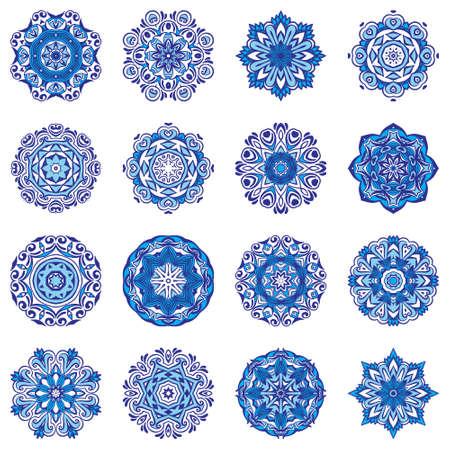 Illustration pour Vector Snowflakes Blue Floral Mandala ornamental set. - image libre de droit