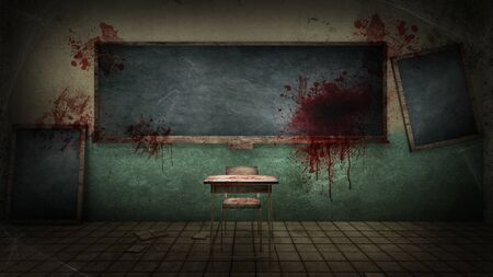 Photo pour horror and creepy classroom in the school with blood. 3D rendering - image libre de droit