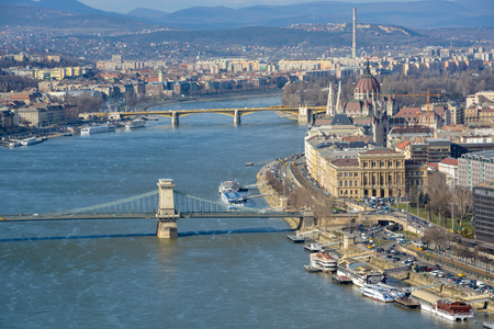 Great view of Budapest parliament and Chain Bridge and the river Danube from the citadel on a sunny day