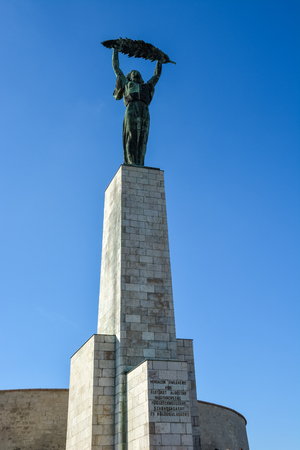 Liberty statue near the citadel on Gellert Hill with blue sky