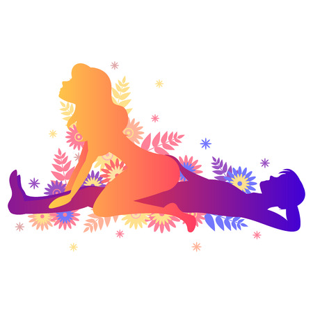 Photo pour Kama sutra sexual pose The Rider. Man and woman on white background sex poses illustration with flowers - image libre de droit