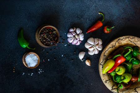 Photo for Cooking concept with paprika peppers, pepper spice, garlic heads and sea salt on stone background with copy space - Royalty Free Image
