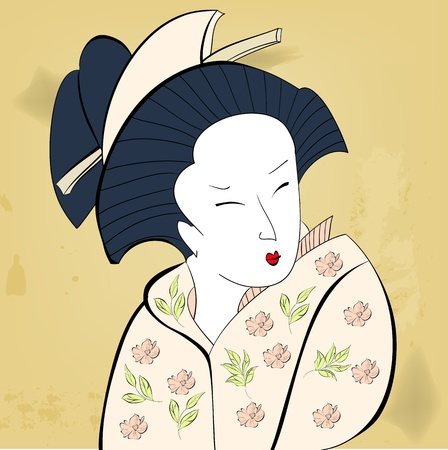 Geisha on vintage background