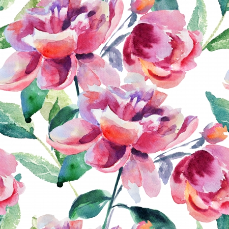 Beautiful peony watercolor mural murals your way - Rosa weiay gestreifte tapete ...
