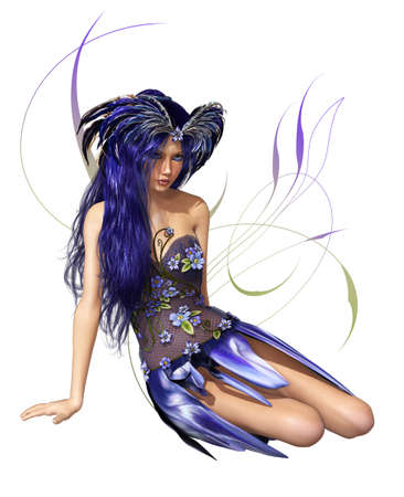 A fairylike young Lady in indigo-blue dress and blue hair